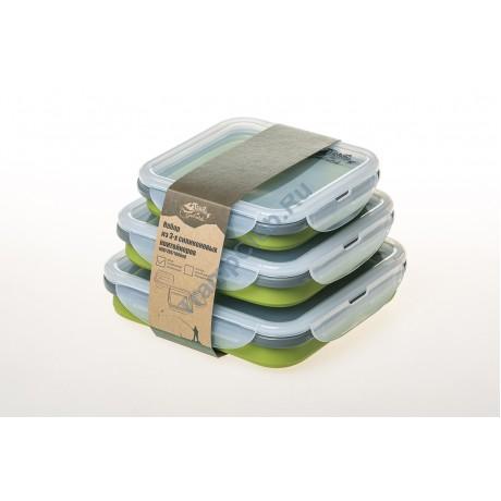 Набор из 3х силиконовых контейнеров (оливковый) - Tramp TRC-089