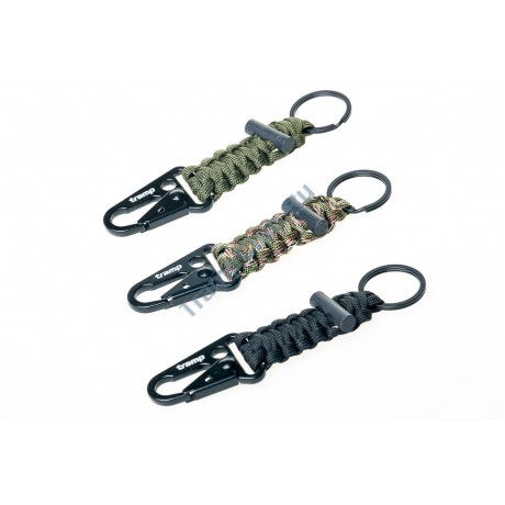 Брелок паракордовый для ключей (карабин/кольцо для ключей/огниво) оливковый - Tramp TRA-236