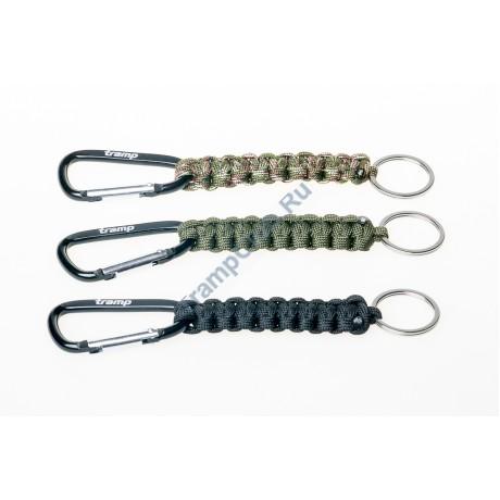 Брелок паракордовый для ключей (карабин/кольцо для ключей) оливковый - Tramp TRA-234